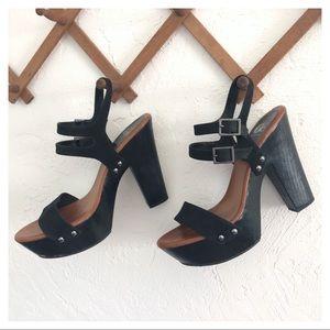 """Black Wooden 5"""" Platform Sandals"""